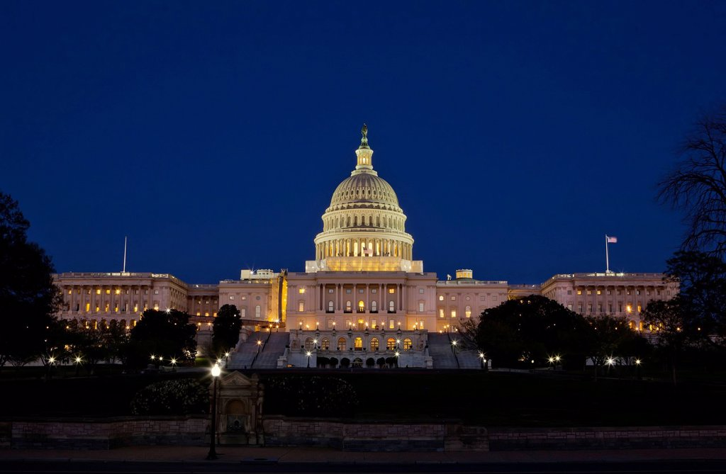 The United States Capitol Complex, the Capitol and the Senate Building showing current renovation work, Washington D.C., United States of America, North America : Stock Photo