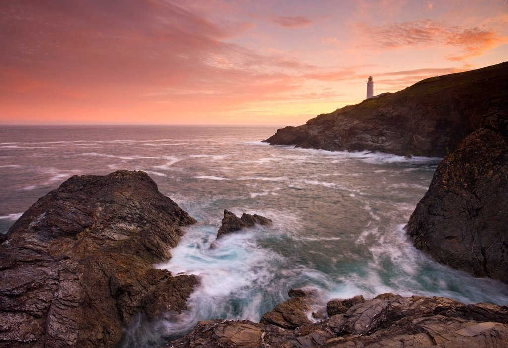 Stock Photo: 1890-142612 Sunrise at Trevose Head on the North Cornish coast, Cornwall, England, United Kingdom, Europe