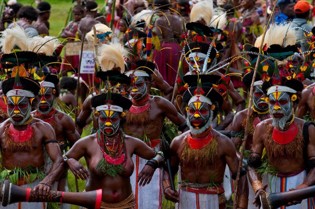 Stock Photo: 1890-142775 Colourfully dressed and face painted local tribes celebrating the traditional Sing Sing in the Highlands of Papua New Guinea, Pacific