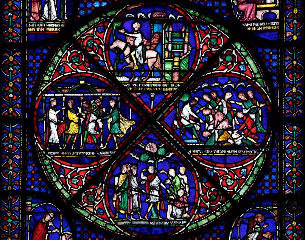 Medieval stained glass depicting the Cure of Eilward of Westoning, Becket Miracle Window 5, Trinity Chapel Ambulatory, Canterbury Cathedral, UNESCO World Heritage Site, Canterbury, Kent, England, United Kingdom, Europe : Stock Photo