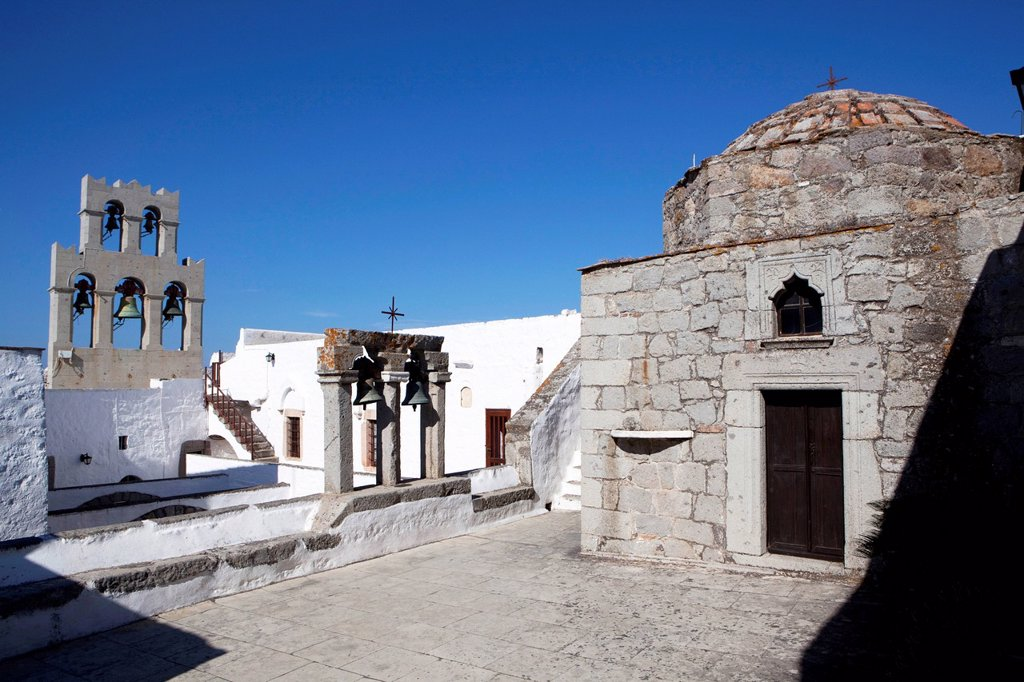 Stock Photo: 1890-143292 Roof church at the Hemitage Monastery of St. John the Evangelist, UNESCO World Heritage Site, Patmos, Dodecanese, Greek Islands, Greece, Europe