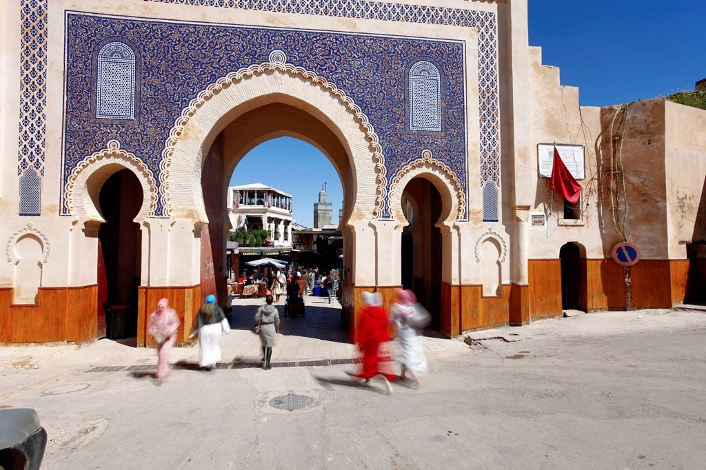 Stock Photo: 1890-143529 Entrance to the Medina, Souq, Bab Boujeloud Bab Bou Jeloud Blue Gate, Fez, Morocco, North Africa, Africa