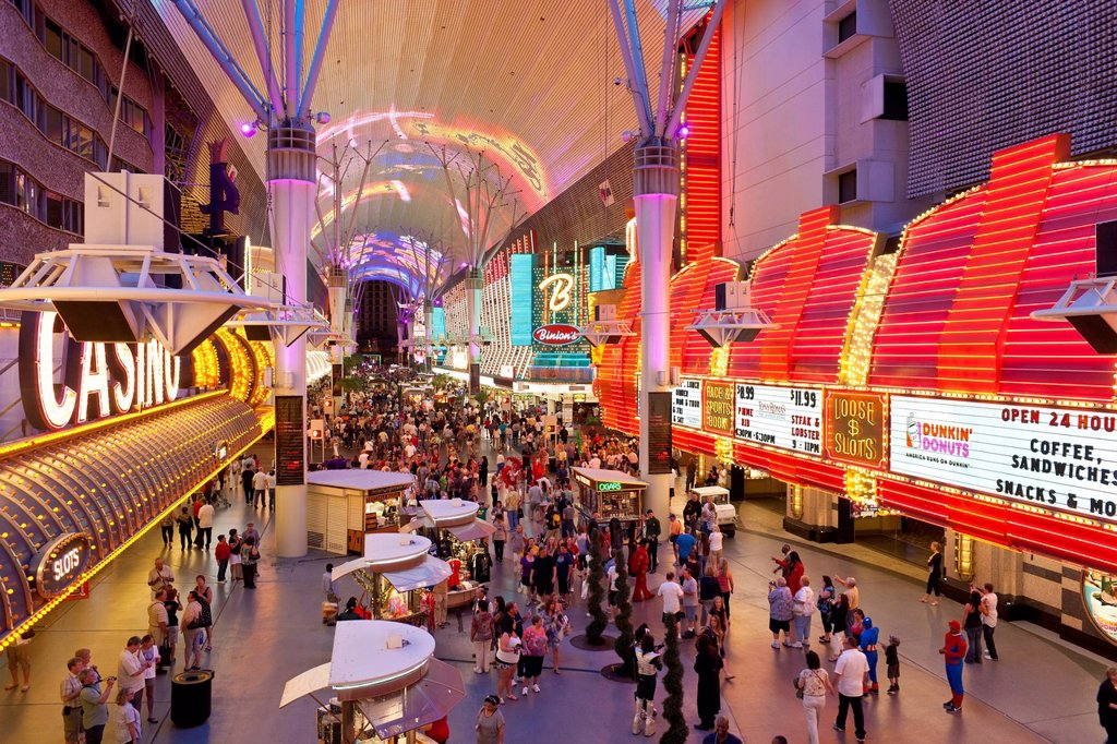 The Freemont Street Experience in Downtown Las Vegas, Las Vegas, Nevada, United States of America, North America : Stock Photo