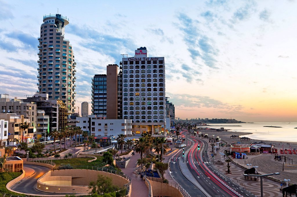 Stock Photo: 1890-143564 Elevated dusk view of the city beachfront, Tel Aviv, Israel, Middle East