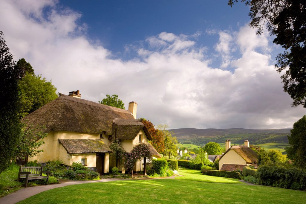 Thatched cottages in the picturesque village of Selworthy, Exmoor National Park, Somerset, England, United Kingdom, Europe : Stock Photo