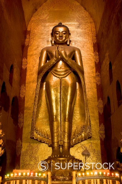 Stock Photo: 1890-143695 South facing Buddha statue, Ananda Pahto, Bagan Pagan, Myanmar Burma, Asia