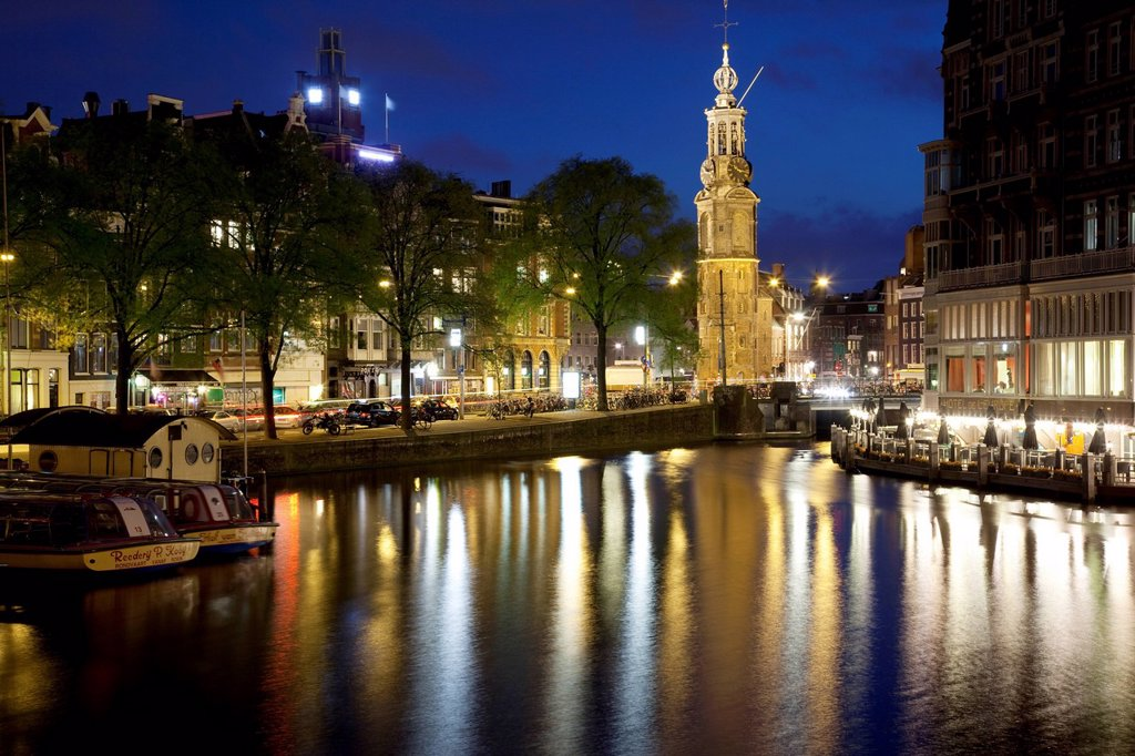 Stock Photo: 1890-143912 Munttoren and canal at dusk, Amsterdam, Holland, Europe