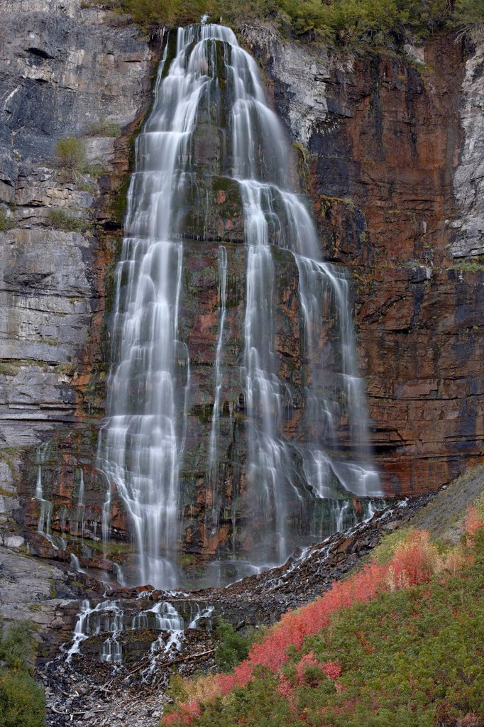 Stock Photo: 1890-144326 Bridal Veil Falls in the fall, Uinta National Forest, Utah, United States of America, North America