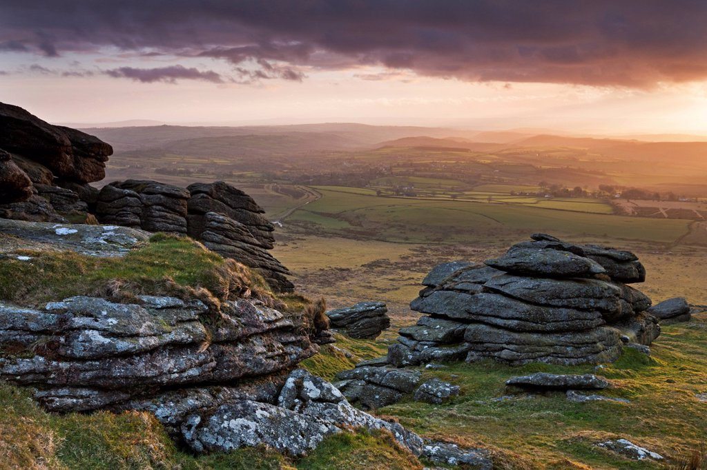 Evening sunlight over Devon countryside, viewed from Arms Tor, Dartmoor National Park, Devon, England, United Kingdom, Europe : Stock Photo