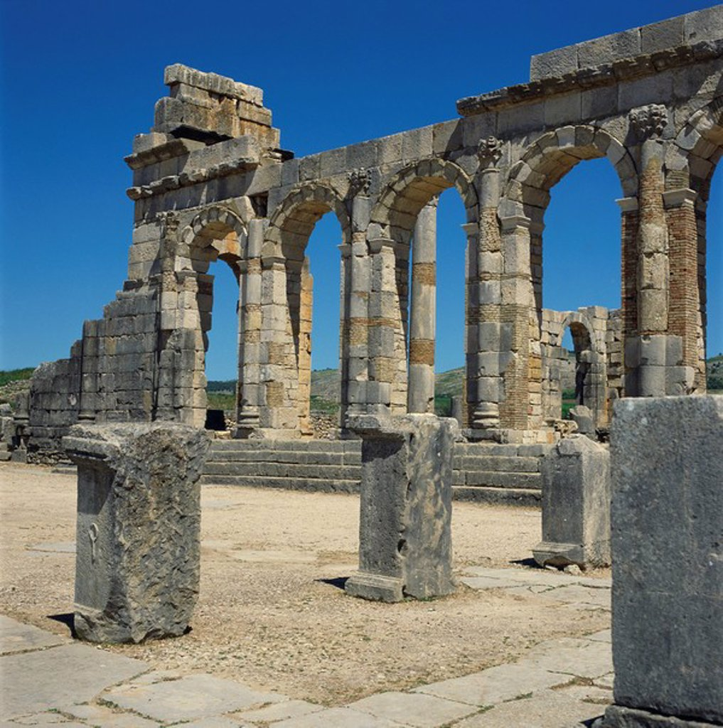 Stock Photo: 1890-14513 Roman ruins, Volubilis, UNESCO World Heritage Site, Morocco, North Africa, Africa