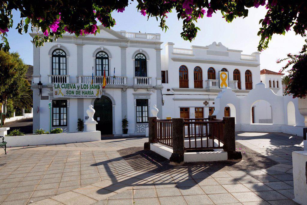 Stock Photo: 1890-145356 Plaza de la Constitucion and Ayuntamiento town hall, Haria, Lanzarote, Canary Islands, Spain, Europe