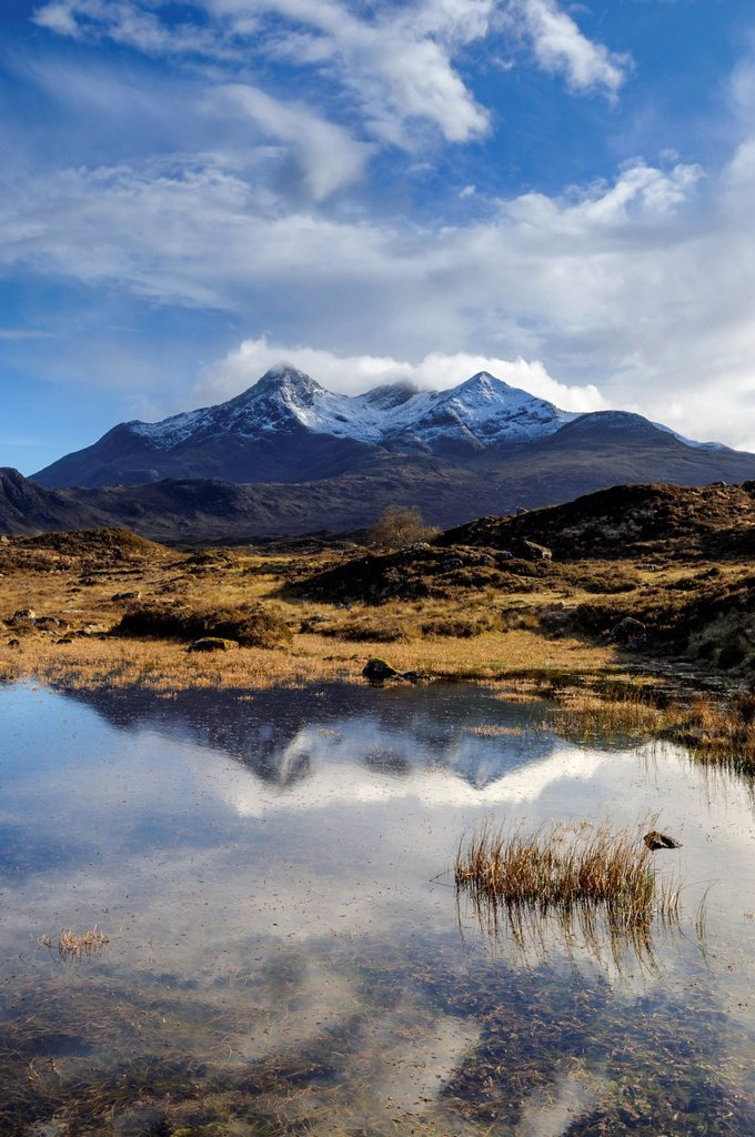 Stock Photo: 1890-145360 View of the Black Cuillin mountain Sgurr nan Gillean, Glen Sligachan, Isle of Skye, Scotland