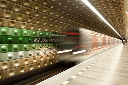 Metro carriages arriving at Malostranska station, Mala Strana, Prague, Czech Republic, Europe : Stock Photo