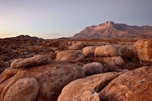 Stock Photo: 1890-146066 Guadalupe Peak and El Capitan at sunset, Guadalupe Mountains National Park, Texas, United States of America, North America