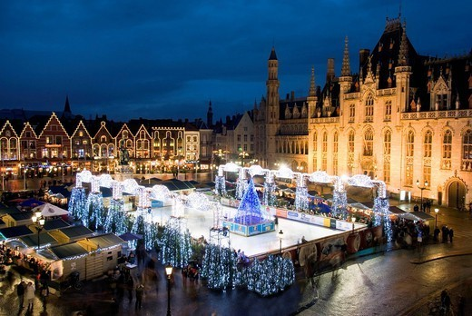 Ice Rink and Christmas Market in the Market Square, Bruges, West Vlaanderen Flanders, Belgium, Europe : Stock Photo
