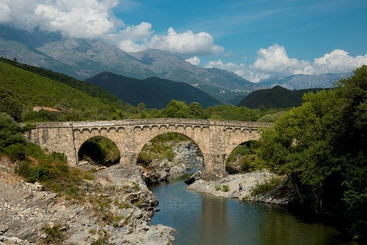The Genoese Bridge, a stone arched bridge over the river Porto near Porto, Corsica, France, Europe : Stock Photo