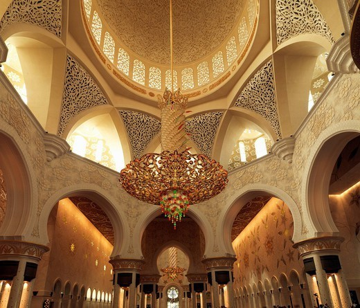 Stock Photo: 1890-146463 Sheikh Zayed Mosque, Abu Dhabi, United Arab Emirates, Middle East