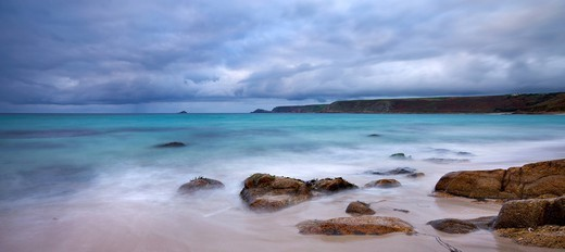 Stormy skies over Whitesand Bay and Cape Cornwall, from Sennen Beach, Cornwall, England, United Kingdom, Europe : Stock Photo