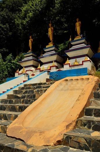 Buddha footprint, Tiger Cave Temple Wat Tham Suea, Krabi Province, Thailand, Southeast Asia, Asia : Stock Photo