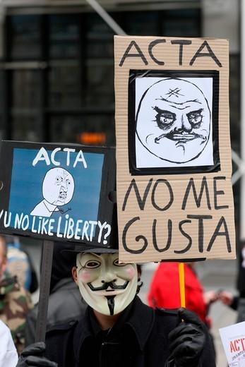 Stop ACTA Protestors march in Paris, France, Europe : Stock Photo