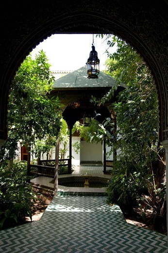 An interior courtyard and pavilion at the Dar Said Museum, Marrakech, Morocco, North Africa, Africa : Stock Photo