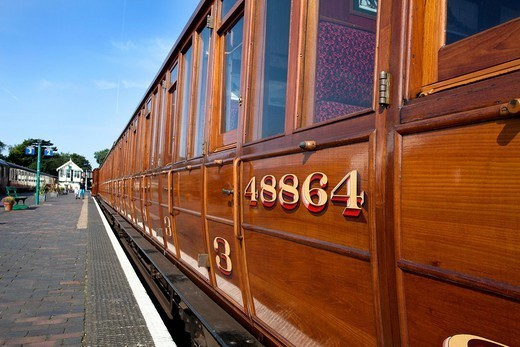 Vintage LNER rolling stock on the Poppy Line, North Norfolk Railway, at Sheringham, Norfolk, England, United Kingdom, Europe : Stock Photo