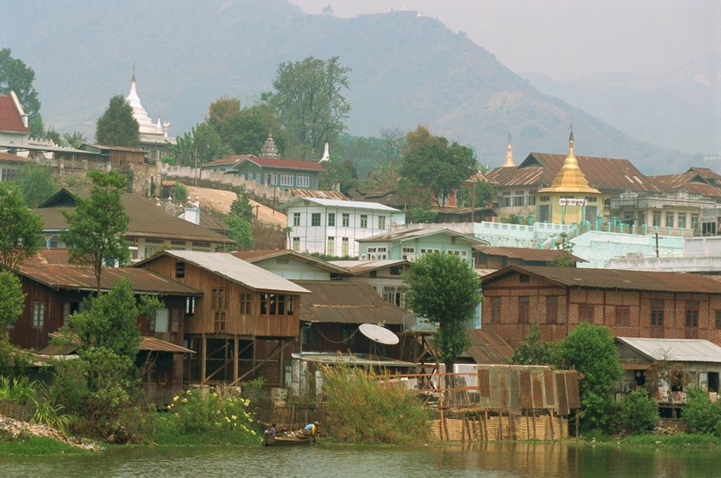 Stock Photo: 1890-14789 Town houses and stupas in centre of ruby mining area, Mogok, Mandalay District, Myanmar Burma, Asia
