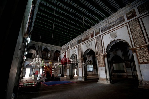 Mosque interior with holy dais and hanging glass lanterns, in the Hugli Imambara, on the bank of the Hugli river, West Bengal, India, Asia : Stock Photo