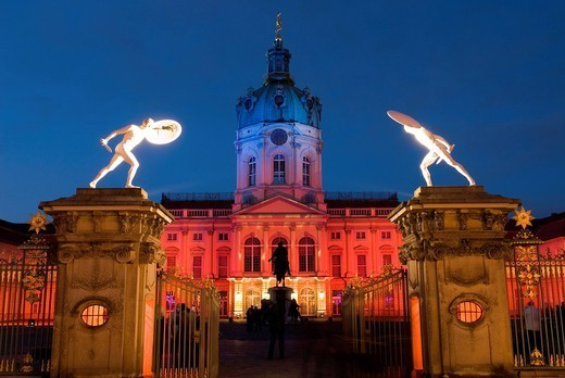 Charlottenburg Palace Schloss Charlottenburg at night, Berlin, Germany, Europe : Stock Photo
