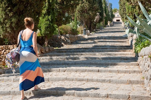 Famous 365_step stairway to the chapel Calvari, Pollenca, Tramuntana, Mallorca, Balearic Islands, Spain, Europe : Stock Photo