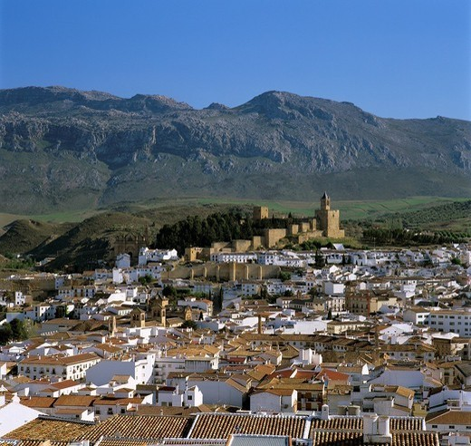 Alcazaba and old town, Antequera, Andalucia, Spain, Europe : Stock Photo
