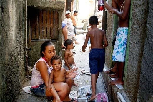 People at Rocinha favela, Rio de Janeiro, Brazil, South America : Stock Photo