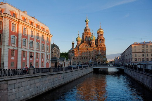 Church on Spilled Blood, UNESCO World Heritage Site, on the Kanal Griboedova, St. Petersburg, Russia, Europe : Stock Photo