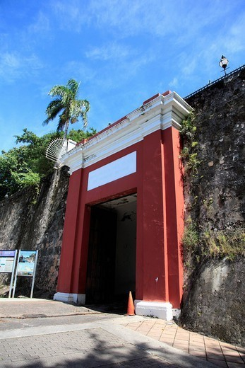 San Juan Gate, Old City Wall, UNESCO World Heritage Site, Old San Juan, San Juan, Puerto Rico, West Indies, Caribbean, United States of America, Central America : Stock Photo