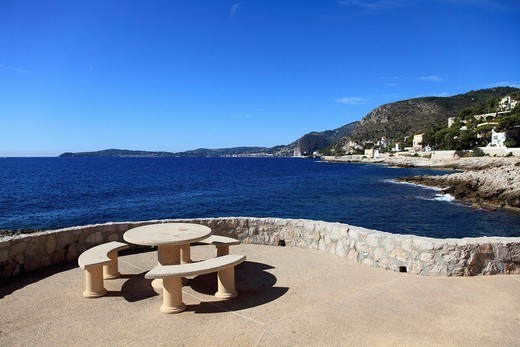 Cap Ferrat peninsula, Coastal Path, Cap d´Ail, Provence, Cote d´Azur, French Riviera, Mediterranean, France, Europe : Stock Photo