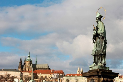 John of Nepomuk Statue on Charles bridge, UNESCO World Heritage Site, Prague, Czech Republic, Europe : Stock Photo