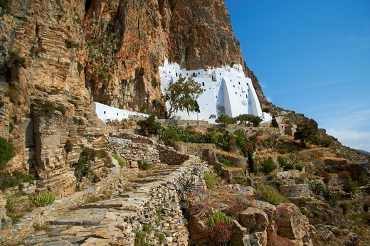 Hozoviotissa monastery, Amorgos, Cyclades, Greek Islands, Greece, Europe : Stock Photo