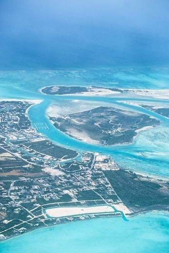 Aerial view of Providenciales, Turks and Caicos Islands, West Indies, Caribbean, Central America : Stock Photo