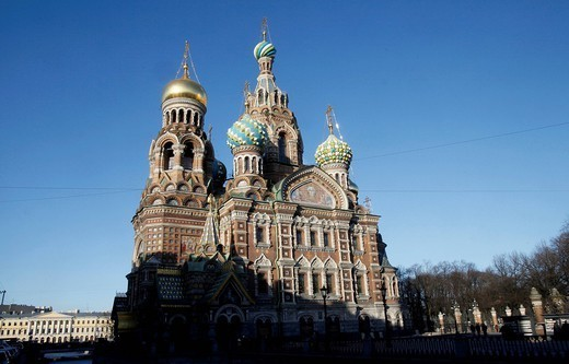 Exterior view beside Griboedov Canal of the Church of the Saviour on Spilled Blood Church of Resurrection, UNESCO World Heritage Site, St. Petersburg, Russia, Europe : Stock Photo