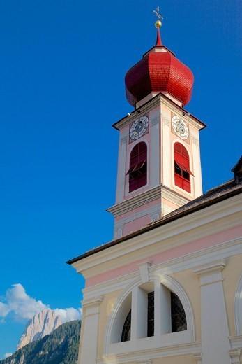 Big Church, Ortisei, Gardena Valley, Bolzano Province, Trentino_Alto Adige/South Tyrol, Italian Dolomites, Italy, Europe : Stock Photo