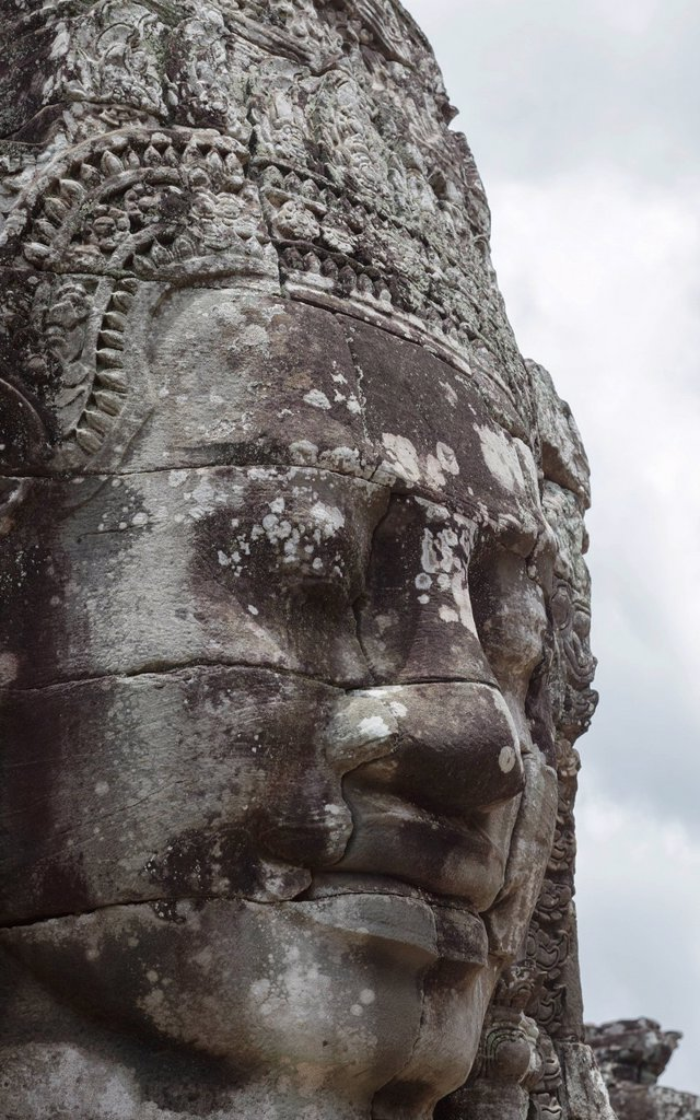 Stock Photo: 1890-150864 A smiling face carved in stone, Bayon, Angkor, UNESCO World Heritage Site, Siem Reap, Cambodia, Indochina, Southeast Asia, Asia