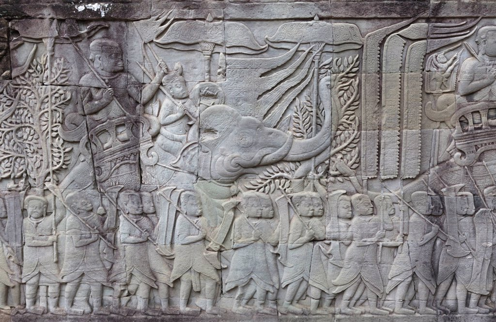 Carvings in stone depicting a king riding an elephant, Angkor Wat, UNESCO World Heritage Site, Siem Reap, Cambodia, Indochina, Southeast Asia, Asia : Stock Photo