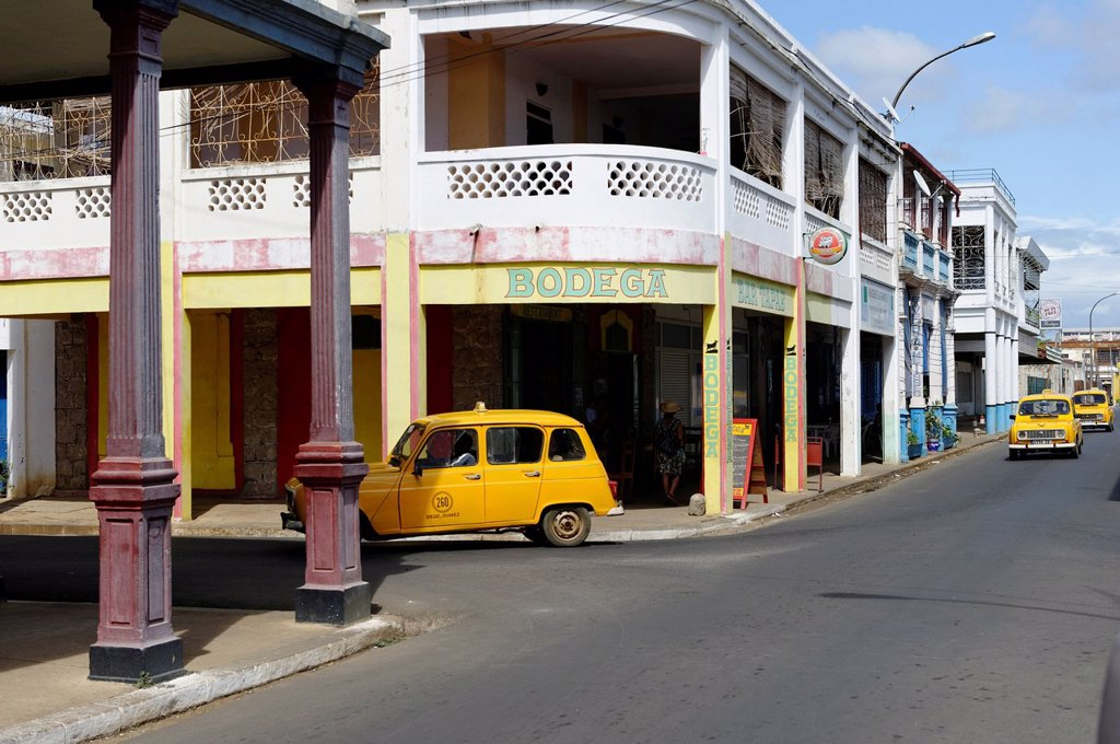 Stock Photo: 1890-151609 Yellow taxi, Antsiranana Diego Suarez, capital of Diana Region, Madagascar, Africa