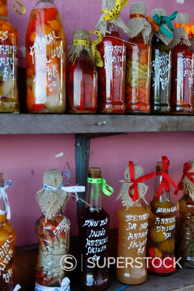 Stock Photo: 1890-151629 Colourful preserved fruits vegetables and chilli peppers souvenirs, Arraial d´Ajuda, Bahia, Brazil, South America