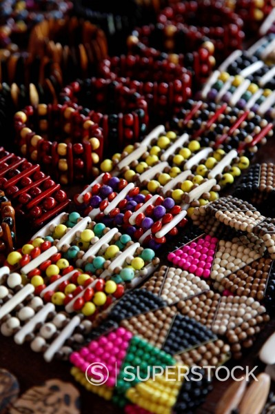 Crafts for sale at the souvenir shop of the Pataxo Indian people at the Reserva Indigena da Jaqueira near Porto Seguro, Bahia, Brazil, South America : Stock Photo