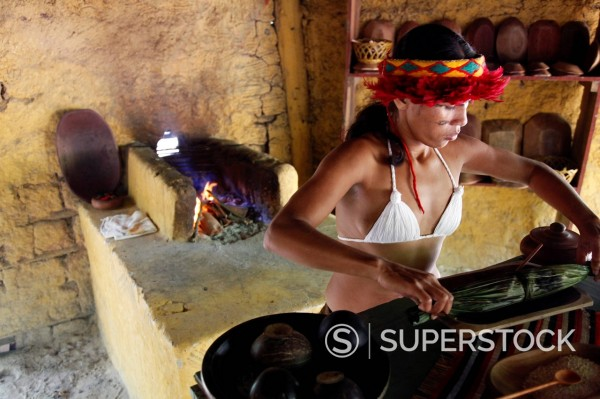 Stock Photo: 1890-151808 Pataxo Indian woman making food at the Reserva Indigena da Jaqueira near Porto Seguro, Bahia, Brazil, South America
