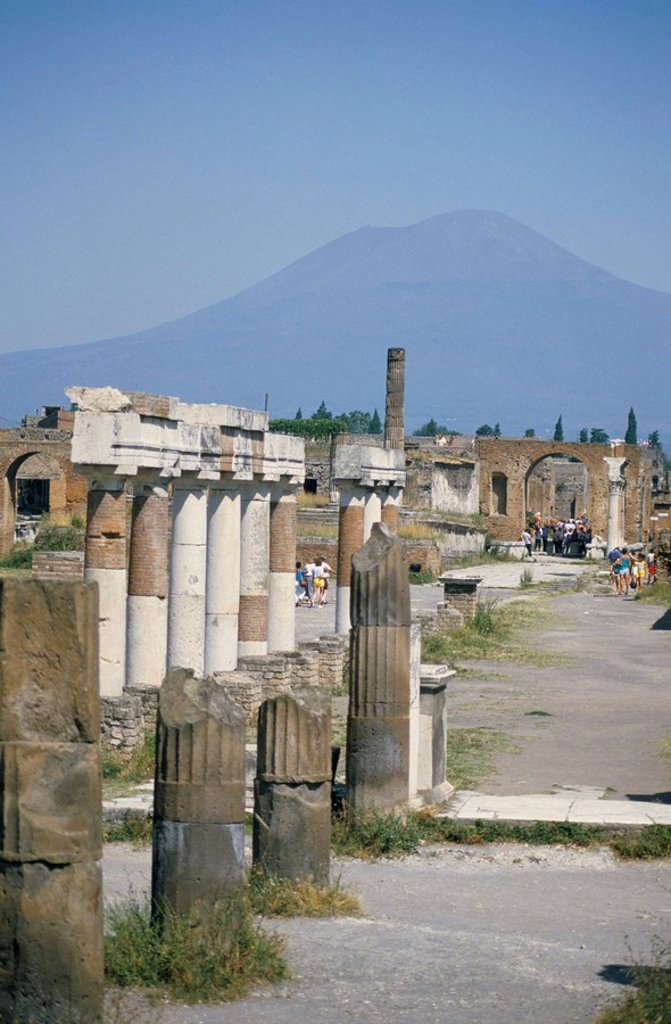 Stock Photo: 1890-15183 Vesuvius volcano from ruins of Forum buildings in Roman town, Pompeii, Campania, Italy, Europe