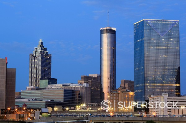 Stock Photo: 1890-152044 City skyline at dusk, Atlanta, Georgia, United States of America, North America
