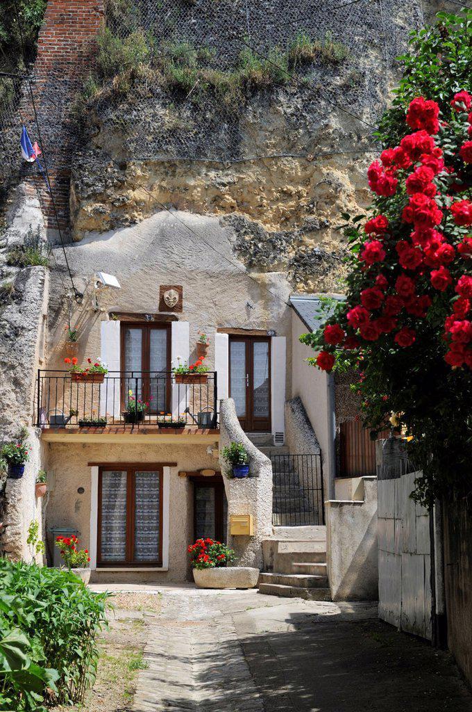 Stock Photo: 1890-152212 Troglodyte house, Amboise, UNESCO World Heritage Site, Indre_et_Loire, Centre, France, Europe