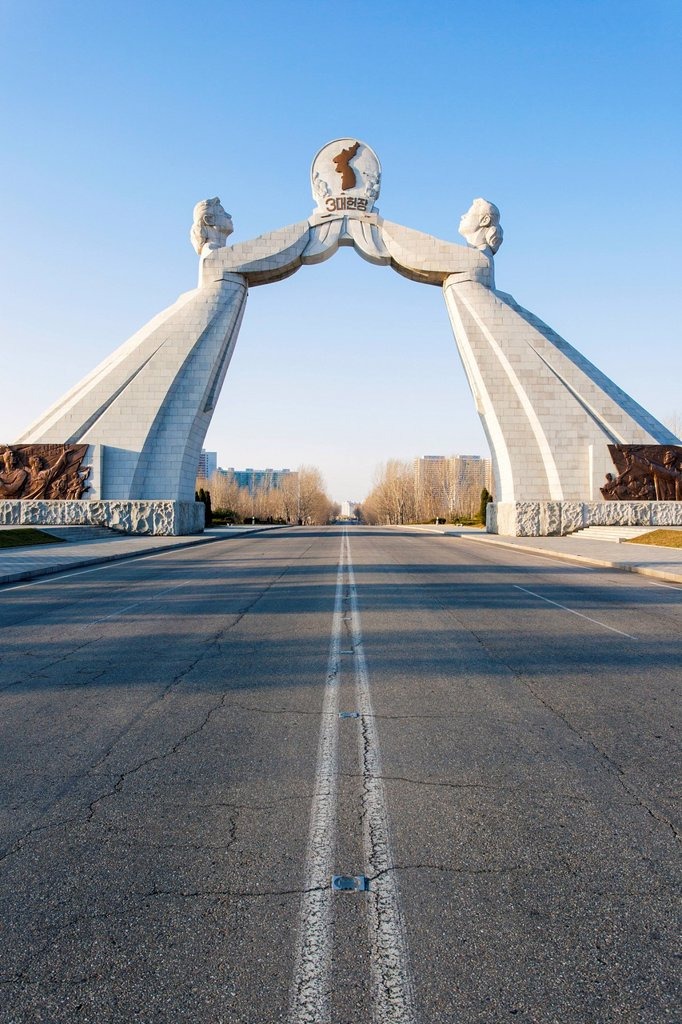 Stock Photo: 1890-152300 Monument to the Three Charters of National Reunification, Pyongyang, Democratic People´s Republic of Korea DPRK, North Korea, Asia
